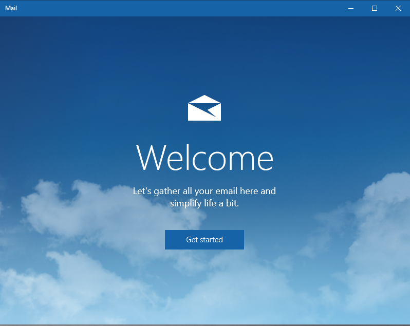 welcome page for the windows mail application