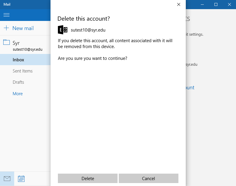 confirm deletion of account by selecting delete