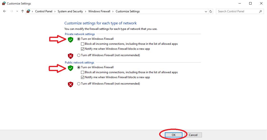 Enable Firewall in Windows 10 - Enable Firewall in Windows