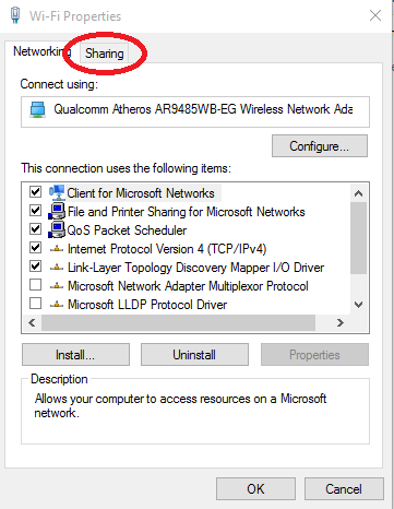 Wifi properties access window