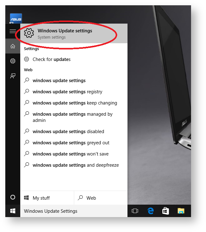 Windows Update Settings menu