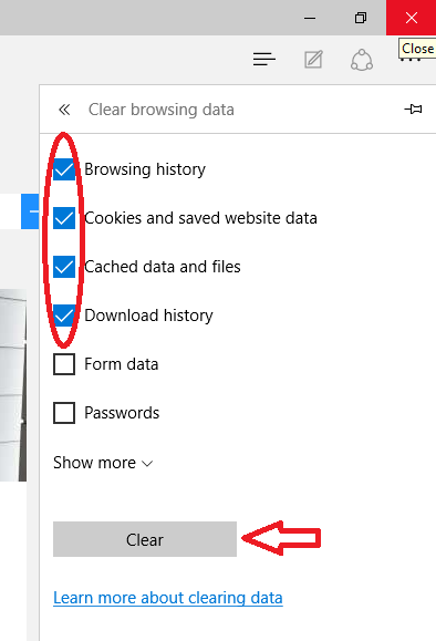 clear browser history and cache in microsoft edge