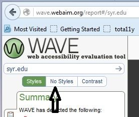 Arrow pointing to No Styles at top of WAVE evaluation results