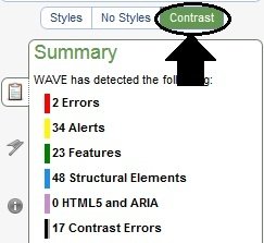 WAVE Contrast Accessibility Evaluate