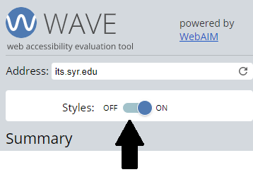 WAVE tool Styles off and on toggle slider