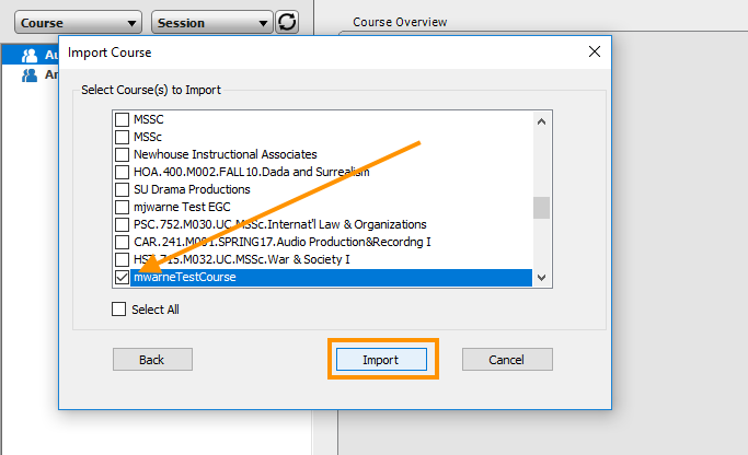 Screenshot of the Import Course menu highlighting course selection.