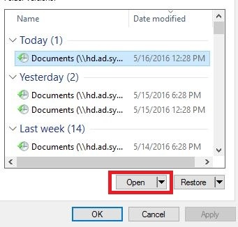 File listing window with selected