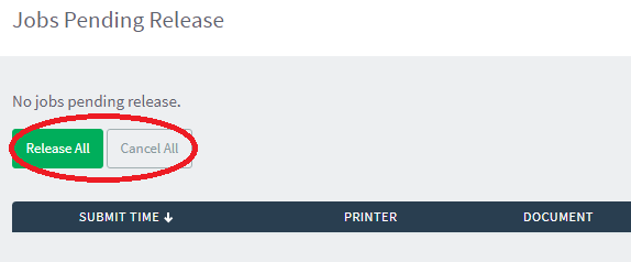 option to release or cancel all pending print jobs