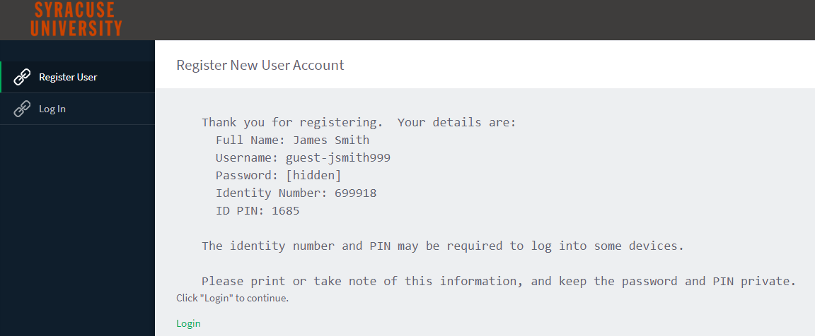email confirming registration of new user
