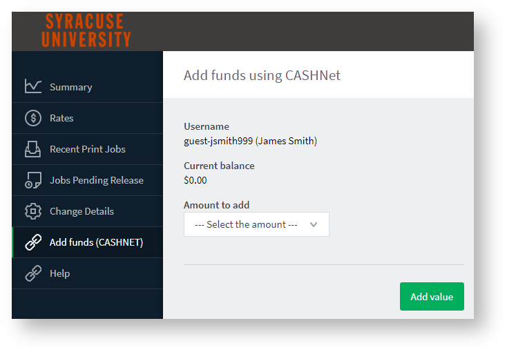 add funds page
