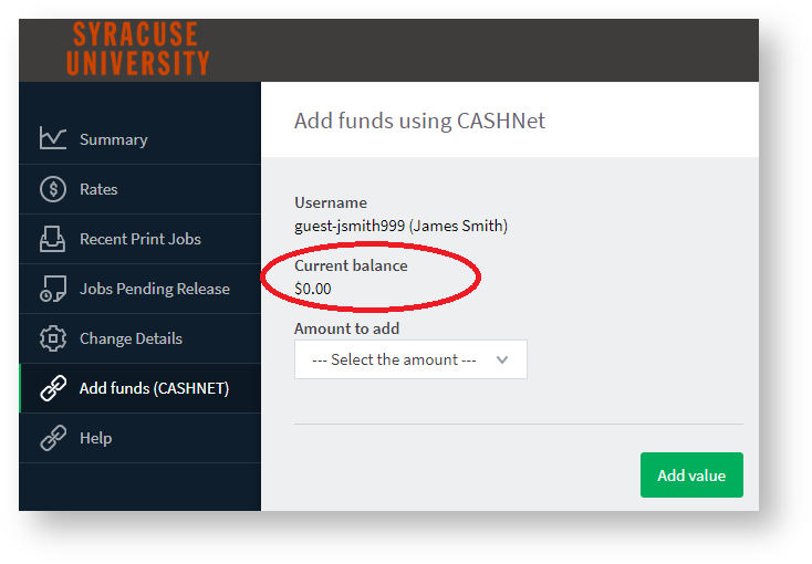 indication of where to view current balance on the add funds page