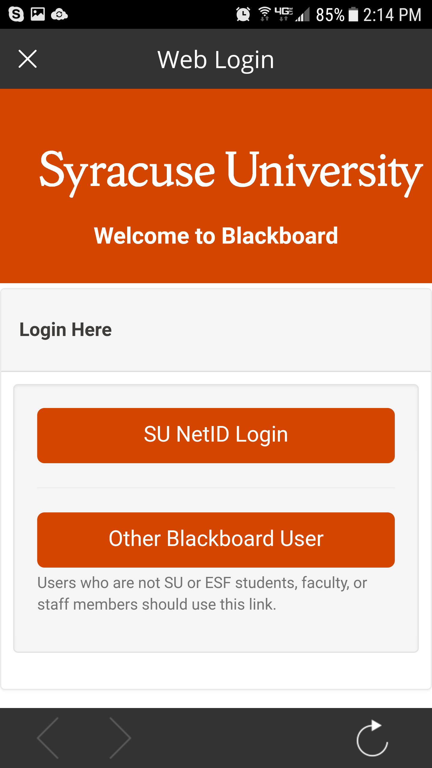 Syracuse University Blackboard Screen Log-in