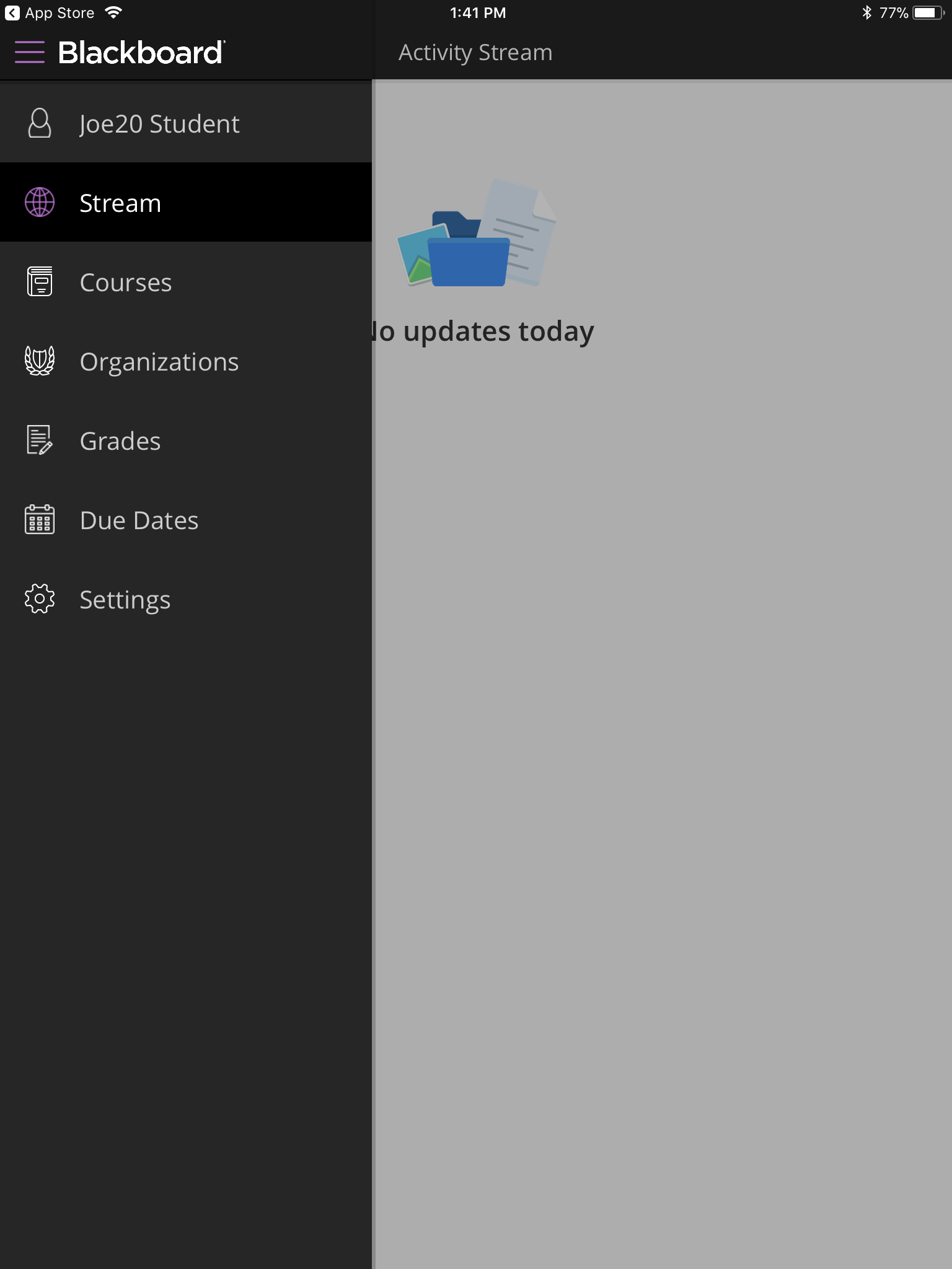 Activity Stream Access Menu