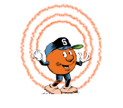 SU mascot Otto projecting three size escalated orange circles