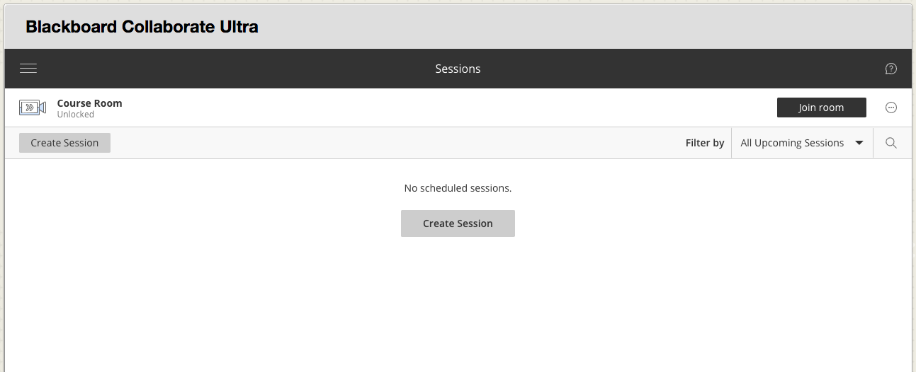 Blackboard Collaborate Sessions Screen
