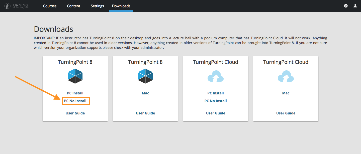 Screenshot of TurningTechnologies Website, highlighting download link.