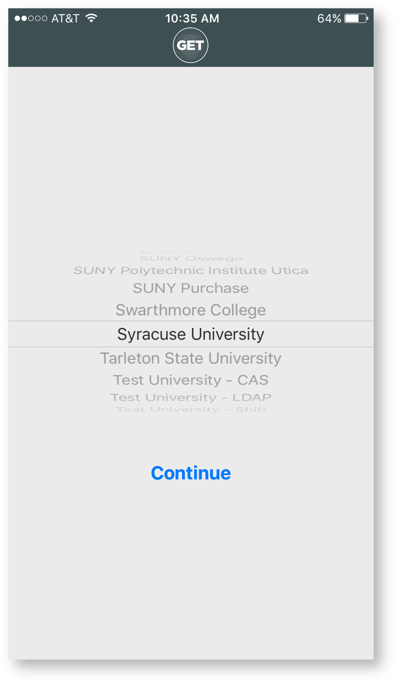Mobile app school selection screen