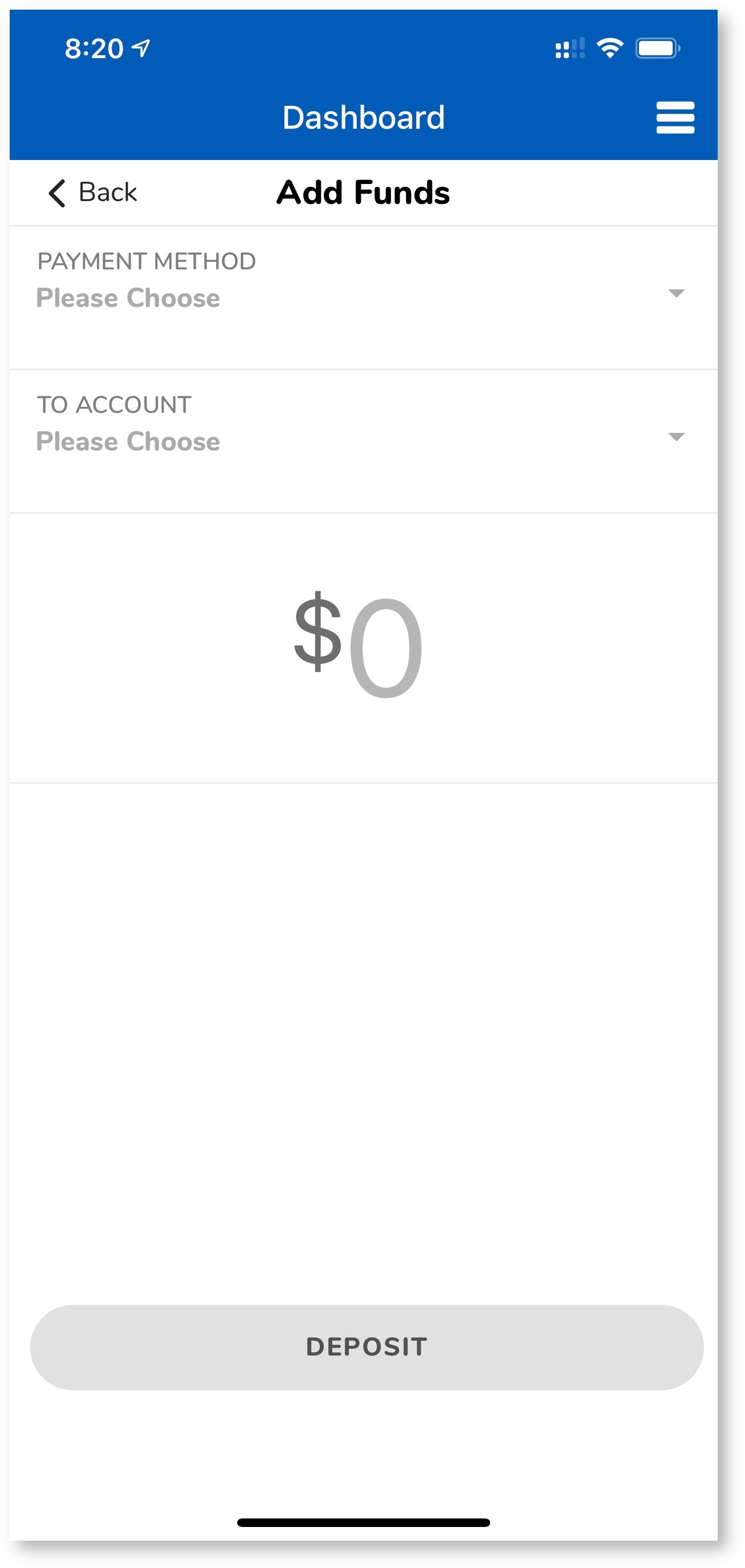 Mobile app funds screen