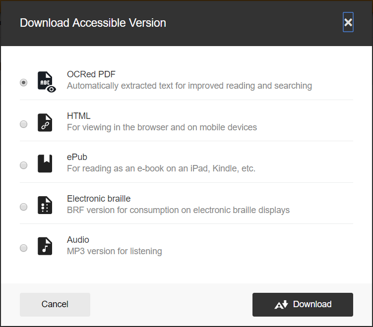 Ally screenshot showing list of accessible versions to download