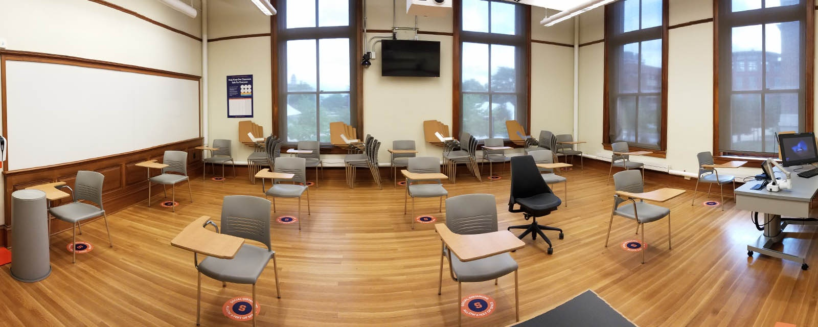 Carnegie 200 Panorama from Front to rear, chairs moveable with desk attached, teaching station straight across from entrance
