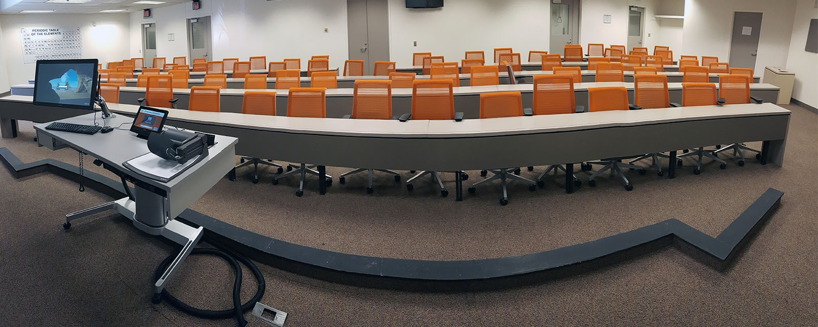 Sci-tech 1-019 Panorama from front to rear, chairs moveable with tables, mobile teaching station at front center of room