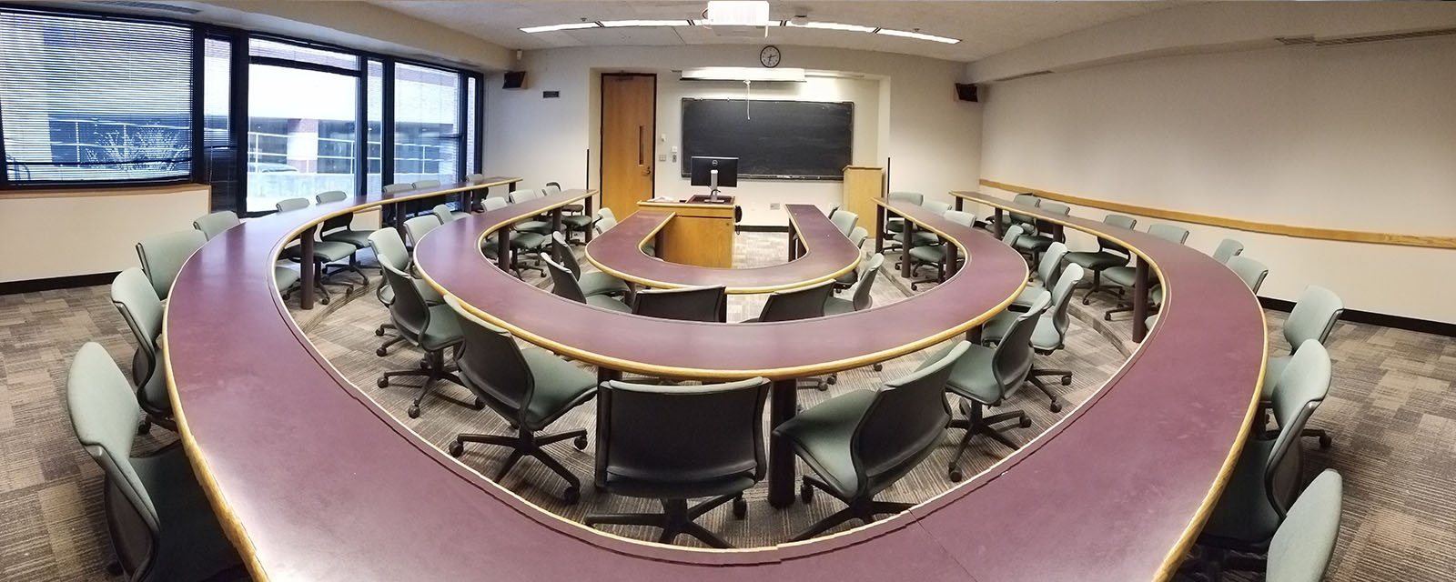 panorama of crouse hinds 001 from rear of room, chairs moveable with stationary tables, teaching station front and center