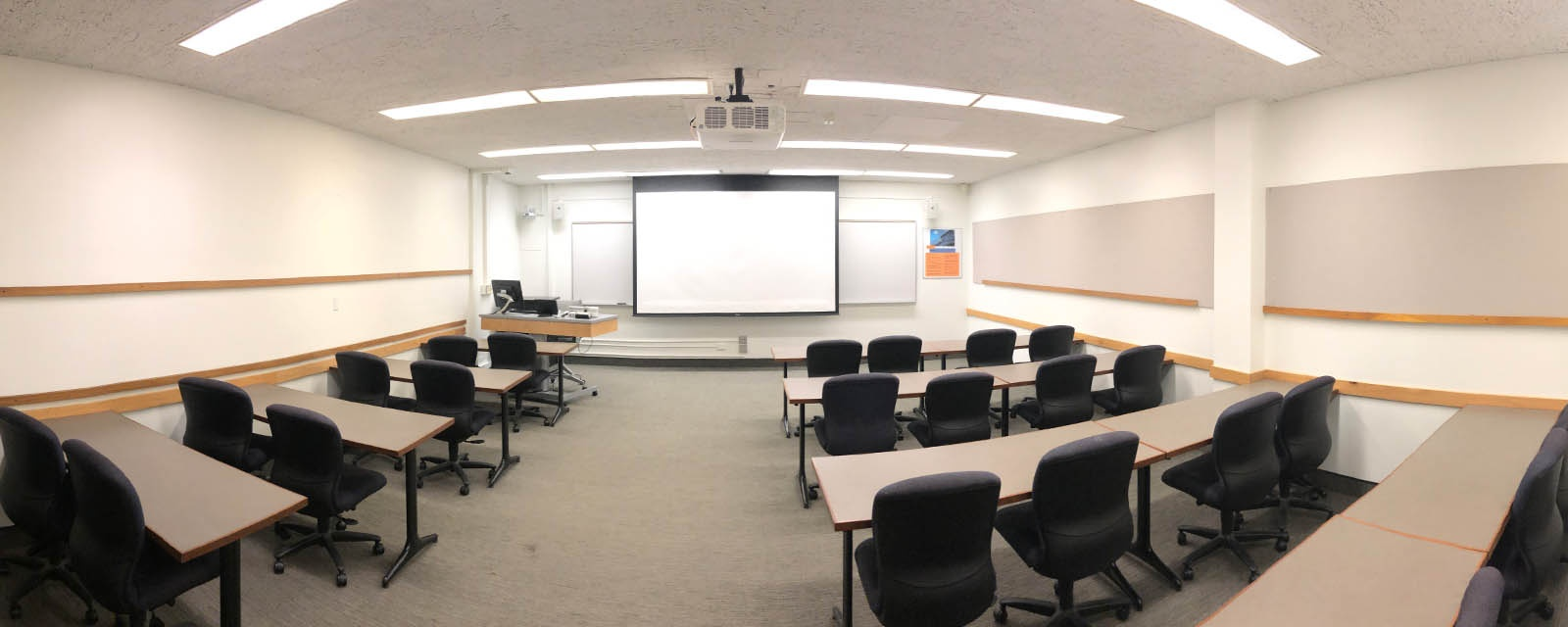 Panorama room 212 student view, movable chairs, teaching station front right