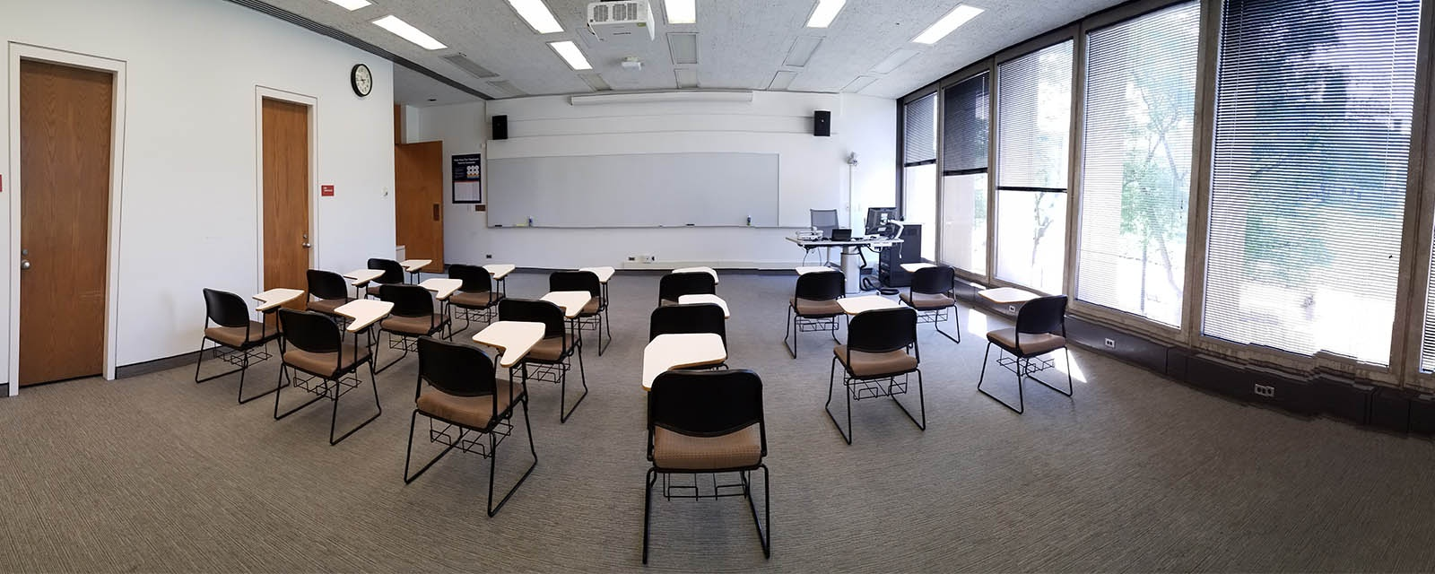 Panorama room 406 student view, movable chairs, teaching station front left
