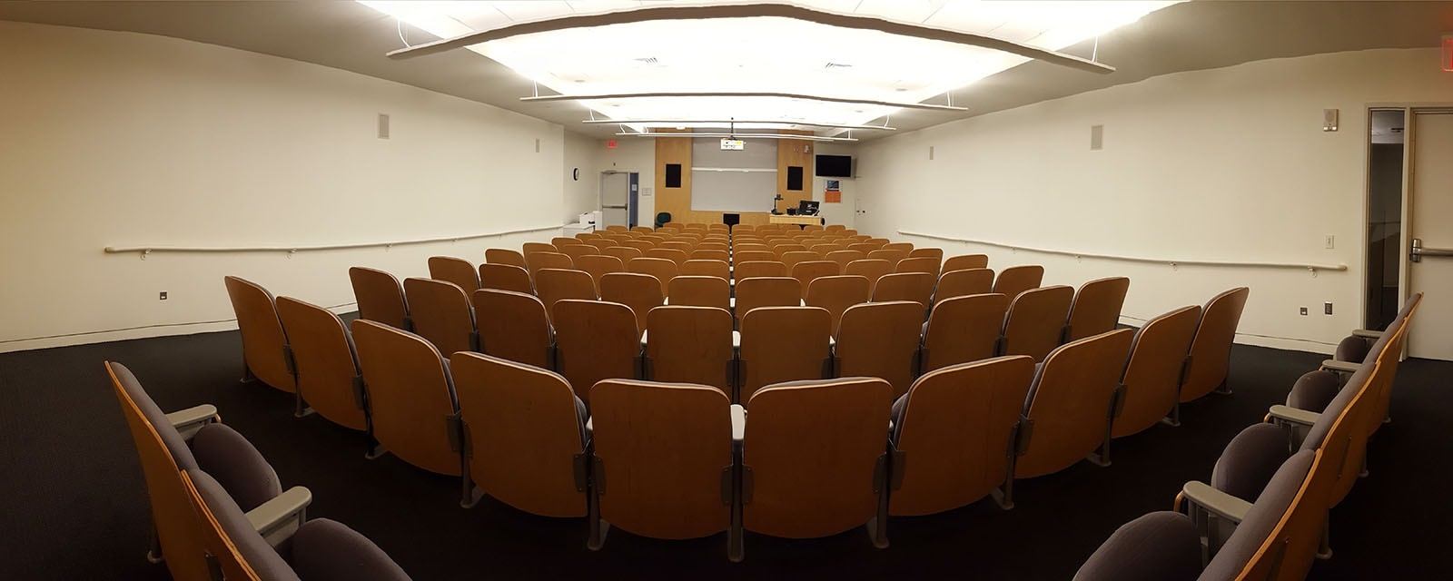 Panorama of Newhouse 3 141 from rear of room movable chairs, teaching station front left