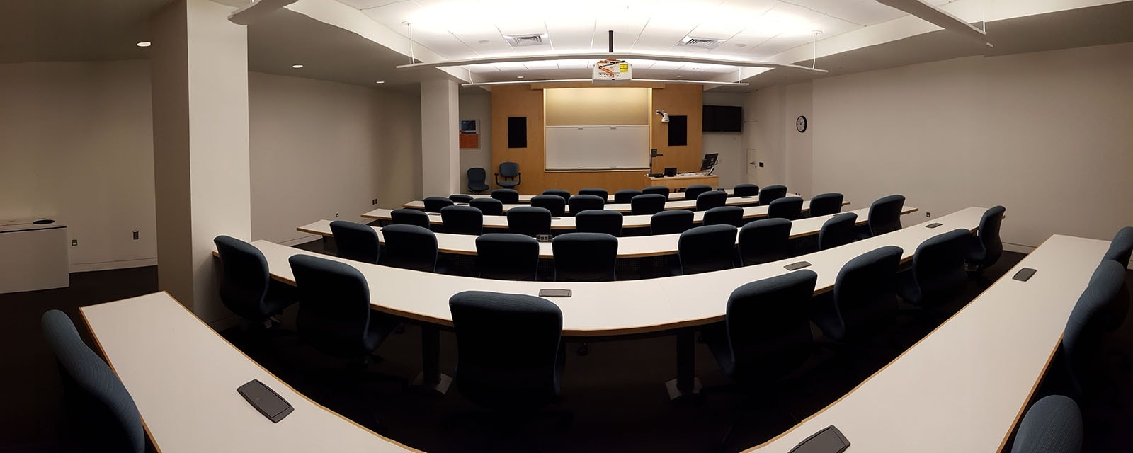 panorama of newhouse 3 250 from rear of room movable chairs, teaching station front left
