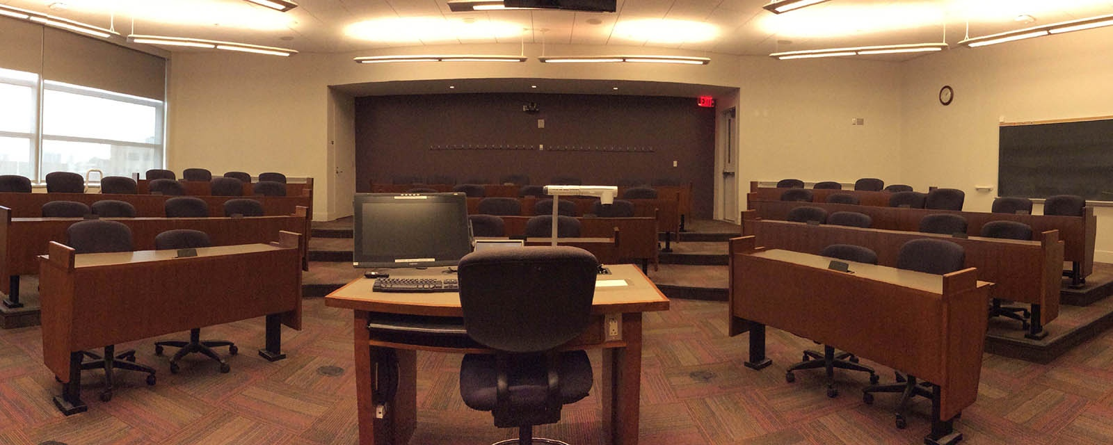Panorama SOM 201 from front of room, stadium seating, teaching station in front center