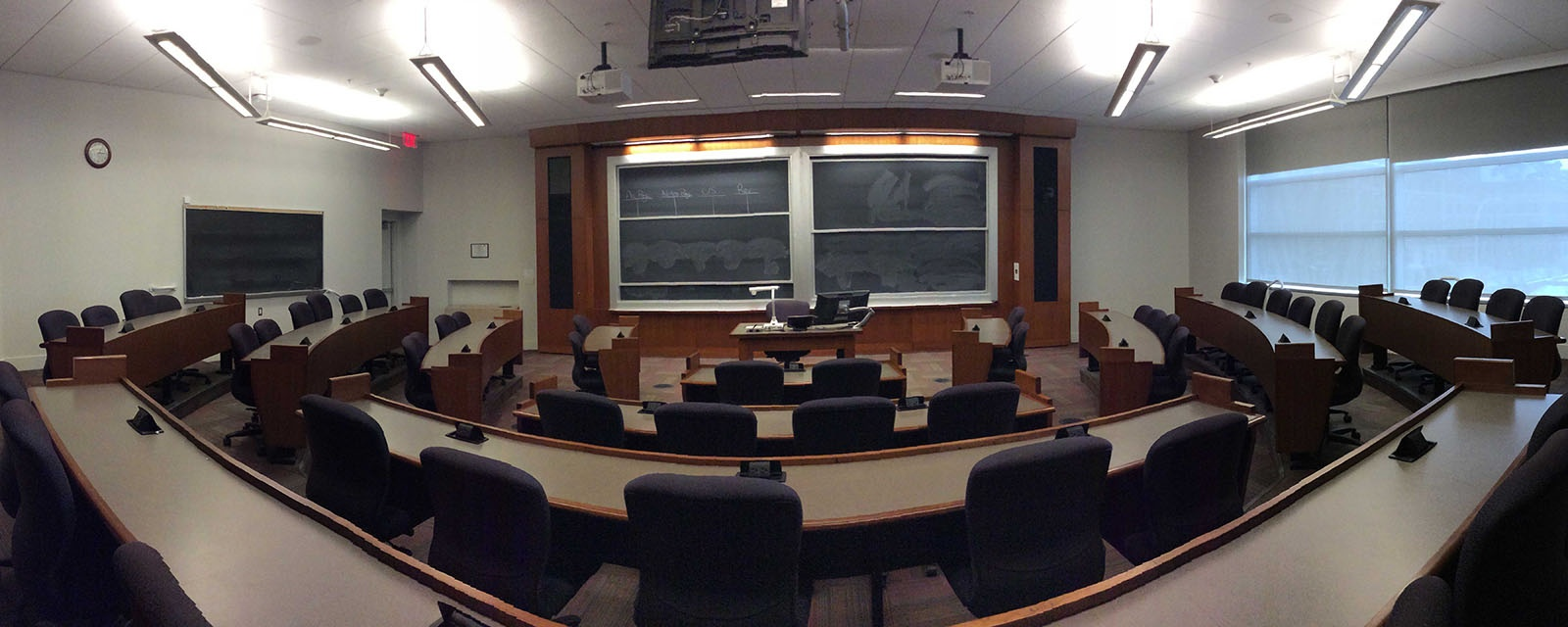 Panorama SOM 201 from back of room, stadium seating, moveable chairs, teaching station in front center
