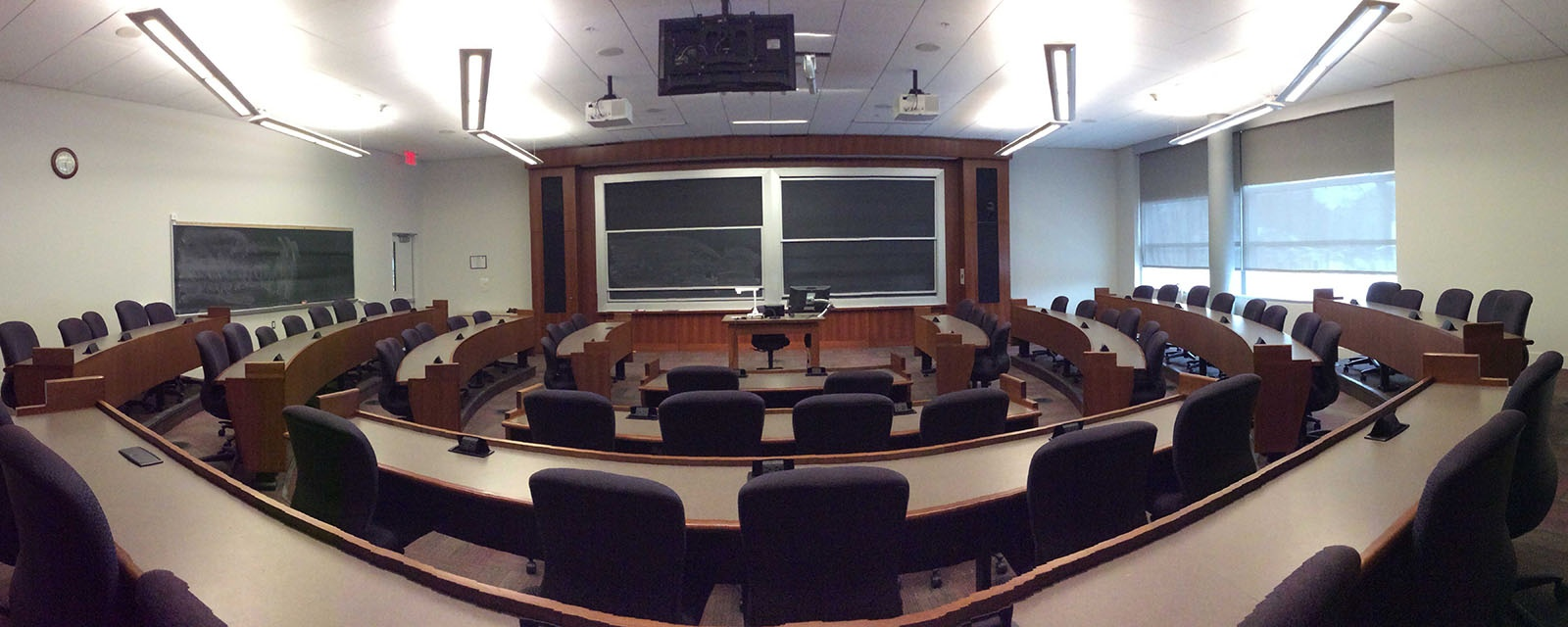 Panorama SOM 204 from back of room, stadium seating, moveable chairs, teaching station in front center