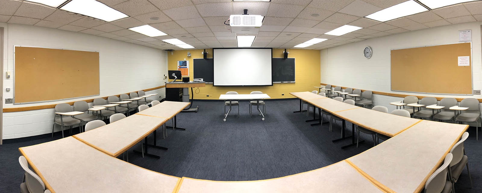 Panorama Newhouse 2 room 340 from back of room to front of room, movable chairs, teaching station front left