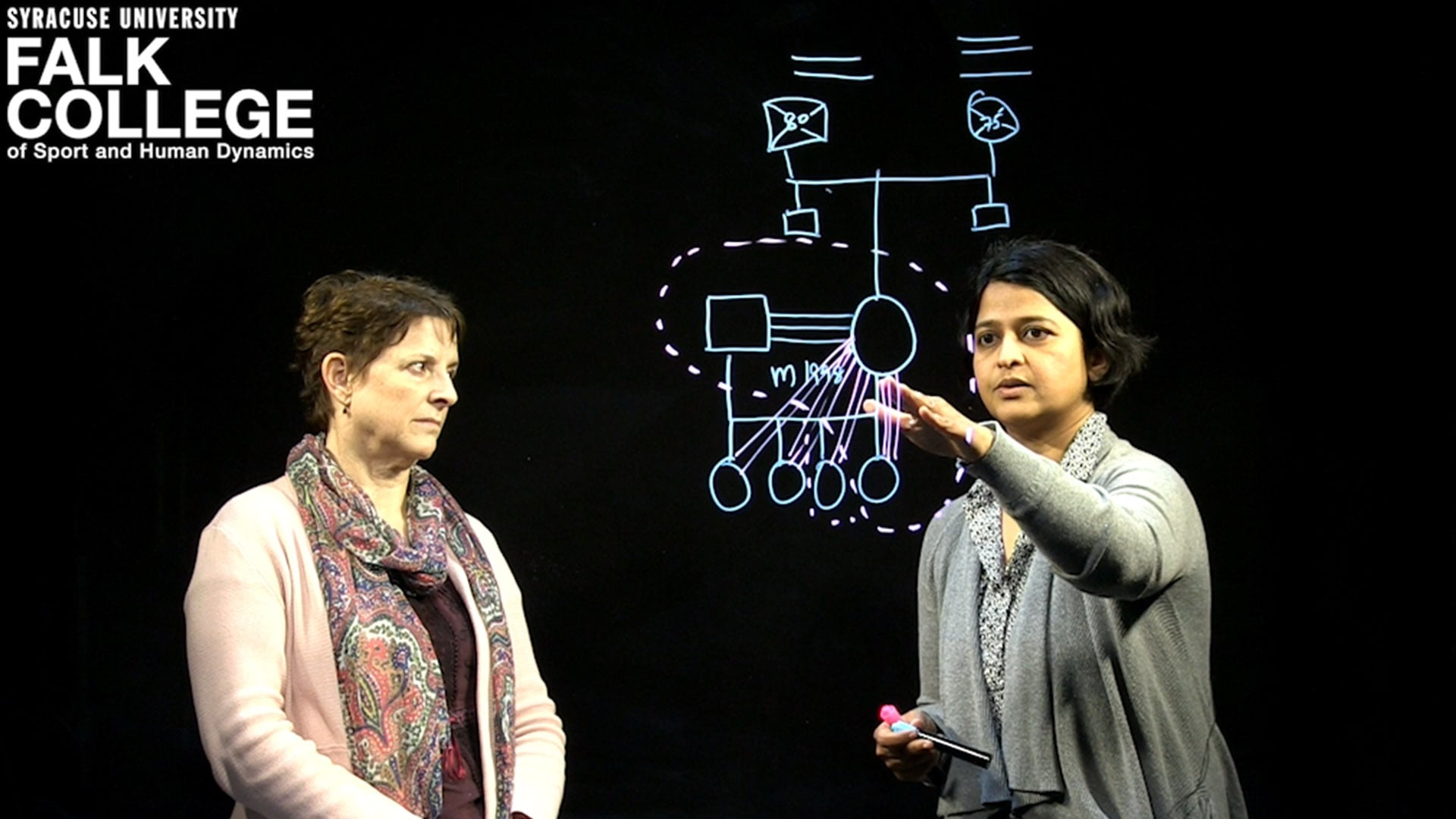 Two professors teaching on a light board