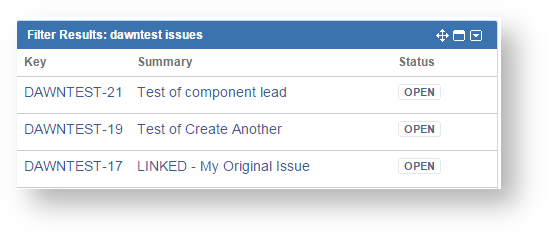 List from filter results gadget showing rows of issues with key, summary, and status