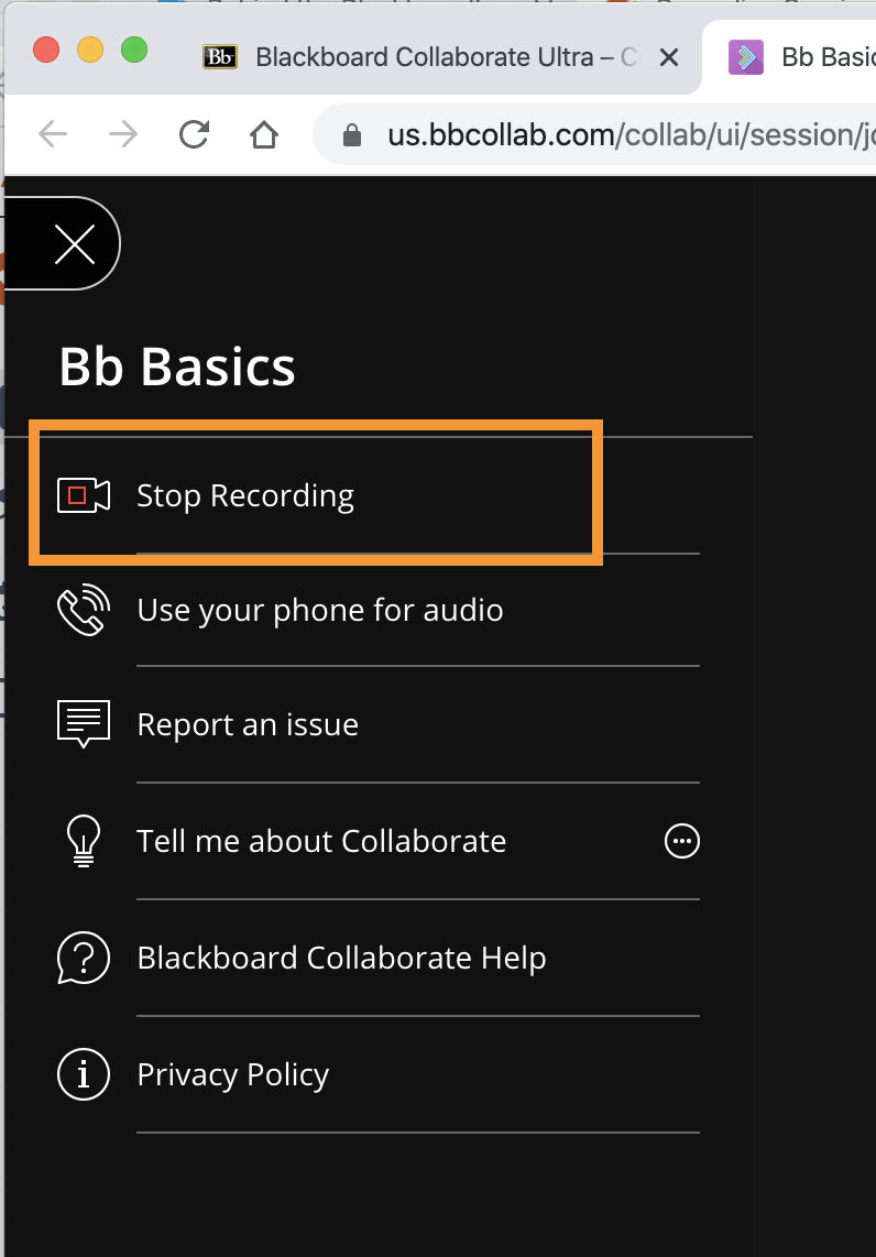 Screenshot of the stop recording button