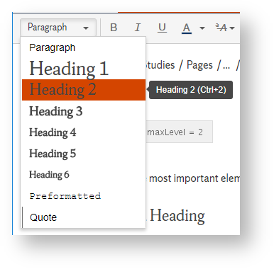 Selecting a Heading from the drop down menu on the editing toolbar.