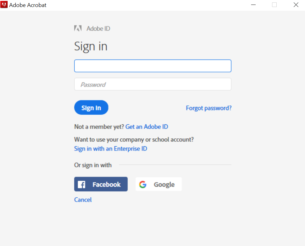 Adobe Sign-In Window