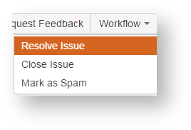 Workflow button showing options