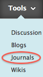 link to journal tool in Blackboard content area