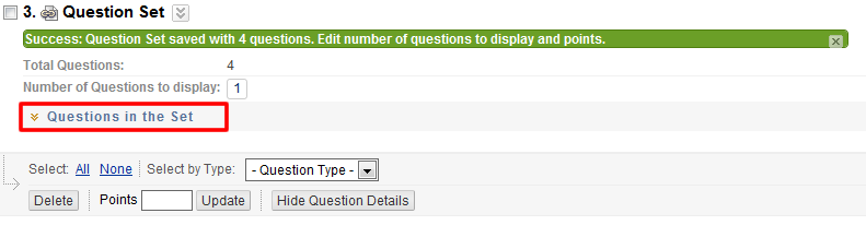 View questions in question set button