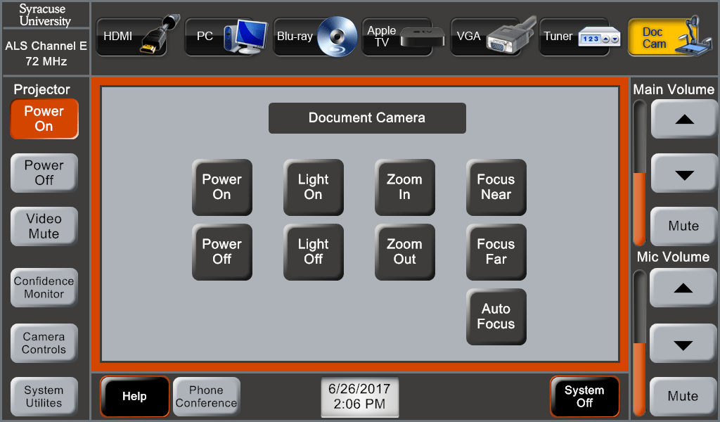 Figure 3.1_Touch Panel_Doc Cam Controls