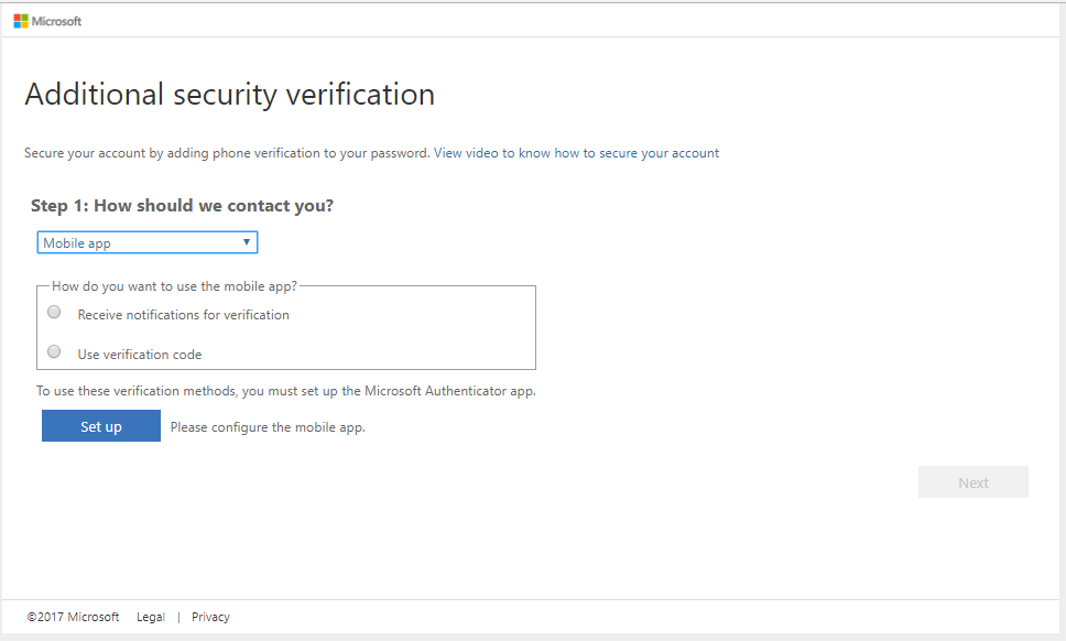 Picture of Mobile app selection using Microsoft authenticator
