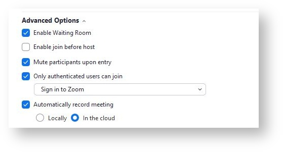 Zoom Auto Recording settings for meetings