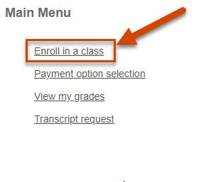 Screen shot showing where to click on enroll in a class