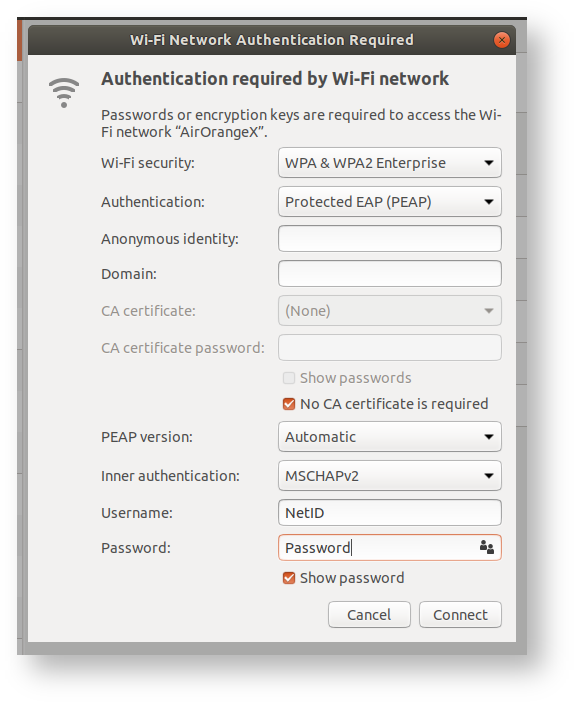 Screen Shot of Authentication Required Settings