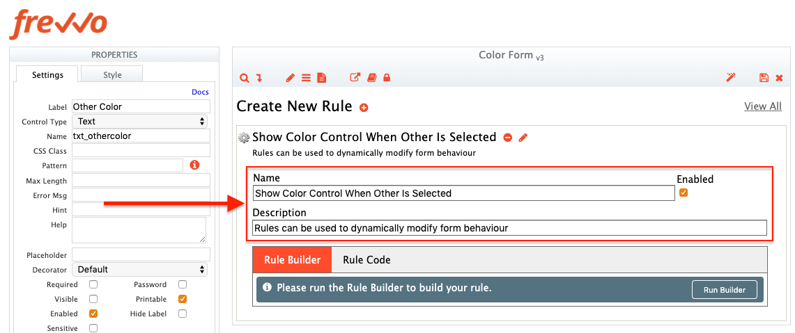 Edit Name And Description Fields Of Rule