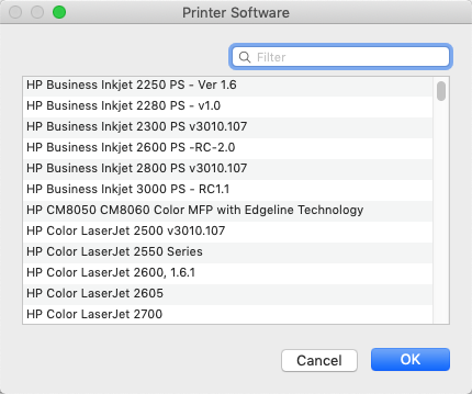Choose the Printer Software