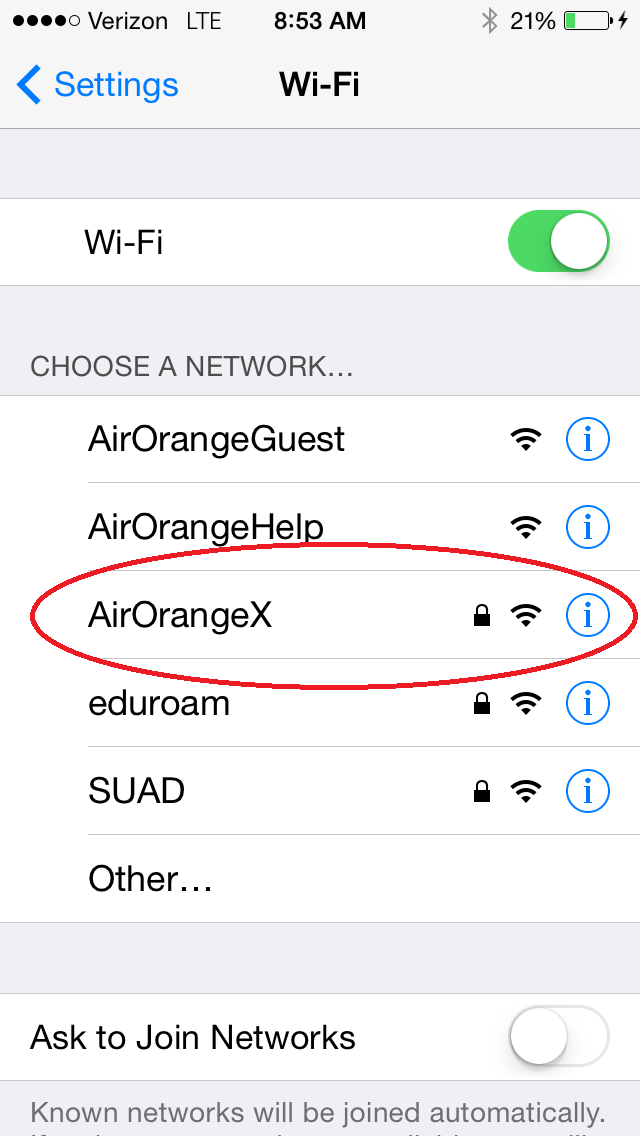 Return to Wifi settings and select AirOrangeX